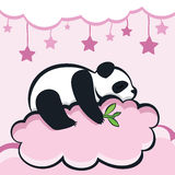 Panda bear sleeping on the cloud, vector illustration Royalty Free Stock Photos
