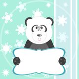 Panda bear on soft green greeting card. vector  Stock Photography