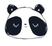 Panda Bear Vector Illustration sveglio disegnato a mano Fotografia Stock Libera da Diritti