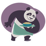 Panda bears a tray with Chinese food. Royalty Free Stock Photos