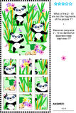 Panda bears visual riddle - what does not belong?. Panda bears visual logic puzzle: What of the 2 - 10 are not the fragments of the picture 1?  Plus same task Royalty Free Stock Photo