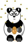 Panda with beehive and swarm of bees Stock Photo
