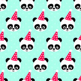 Panda with birthday cap seamless pattern on mint green background. Stock Photos