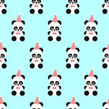 Panda and birthday cap seamless pattern on mint green background. Design for print on babys clothes, textile, wallpaper, fabric. Vector background with smiling Royalty Free Stock Photo