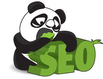 Panda Biting Off SEO Word Illustration Stock Photo