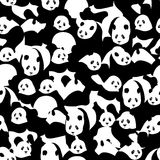 Panda black white many seamless pattern Royalty Free Stock Images