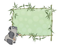 Panda with blank sign cartoon Stock Photo