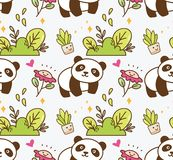Panda bonito com fundo sem emenda da flor ilustração royalty free