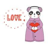 Panda bonito com um coração ilustração do vetor