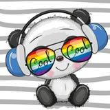 Panda bonito dos desenhos animados frescos com vidros de sol ilustração do vetor