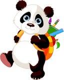 A panda bonito vai à escola ilustração stock