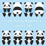 Panda Bookmark Vector Set mignon Images stock