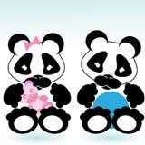 Panda boy and girl Stock Photos