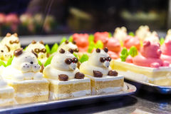 Panda cakes at Chinese restaurant Royalty Free Stock Photos