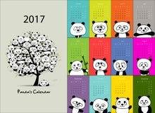 Panda calendar 2017 design Stock Image