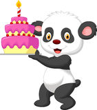 Panda cartoon with birthday cake Stock Image