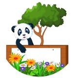 Panda cartoon with blank sign Stock Photos