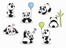 Panda cartoon character in various expression Stock Photo