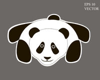 Panda Cartoon mignon sur Grey Background editable Photo libre de droits