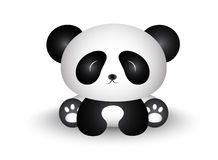 Panda Cartoon Sitting mignon avec son corps dans l'avant Images stock