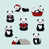 Panda cartoon vector. Happy, sad, sick, sleep, love, reading a panda on a light background. Cartoon panda with different expressions stylized drawing hands Royalty Free Stock Photos