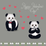 Panda cartoon vector. Valentine's Day Card couple in love pandas on the khaki background. Panda, pink hearts, snowdrops, congratulations stylized drawing hands Stock Photo
