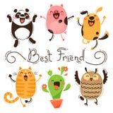 Panda, cerdo, perro, gato y Owl Best Friends Imágenes aisladas del vector de animales y del cactus divertidos Día feliz de la ami libre illustration