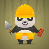 Panda character builder in helmet Stock Photography