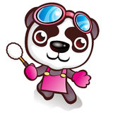 Panda character who likes to sweep Royalty Free Stock Images