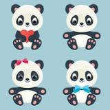 Panda characters icons set Stock Image