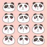 Panda Characters Set mignon tiré par la main Image stock