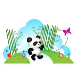 Panda chasing butterfly Royalty Free Stock Images