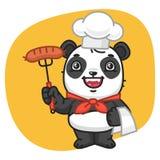 Panda Chef Holding Fork com salsicha Fotografia de Stock