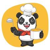 Panda Chef Holding Pan y cucharón ilustración del vector