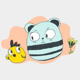 Panda and chicken cartoon character Stock Photos