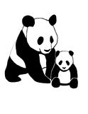 Panda and child black-white Royalty Free Stock Photography