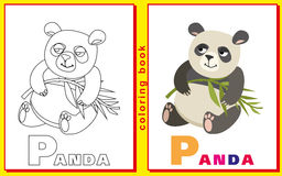 Panda. Children coloring with the letters Stock Photos