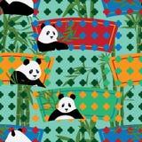 Panda China fan shape garden board seamless pattern Stock Photography