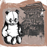 Panda and china temple. Jpeg and vector picture with stitches panda toy Royalty Free Stock Photography