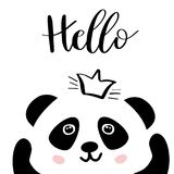 Panda. Chinese panda bear. Panda. Chinese panda bear in crown and lettering word Hello. Cute  animal illustration for cards, web, prints, tshirts, tote bags Royalty Free Stock Images