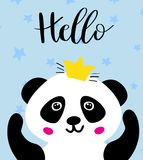Panda. Chinese panda bear. Panda. Chinese panda bear in gold crown and text Hello. Cute  animal illustration for cards, web, prints, tshirts, tote bags design Stock Photo
