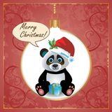 Panda Christmas Card Immagine Stock Libera da Diritti