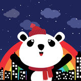 Panda in the city at night Stock Photography