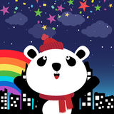 Panda in the city at night Royalty Free Stock Images