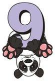 Panda climbing upside down of number nine Royalty Free Stock Image
