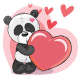 Panda com coração ilustração do vetor