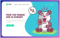 A panda com fome pede o alimento grupo do p?gina da web e do reprodutor multimedia e do ?cone ilustração do vetor