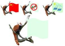 Panda con las banderas Foto de archivo