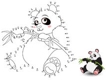 Panda Connect the dots and color set3. Vector Stock Image