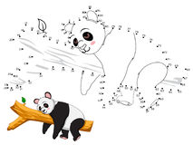 Panda Connect the dots and color. Vector royalty free illustration